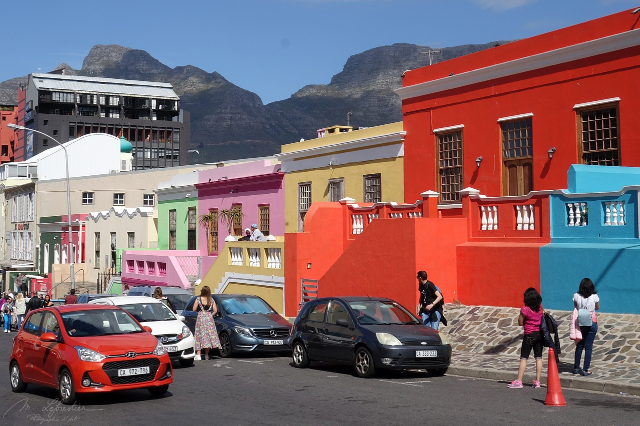 street in Bo-Kaap in Cape Town South Africa with colorful houses