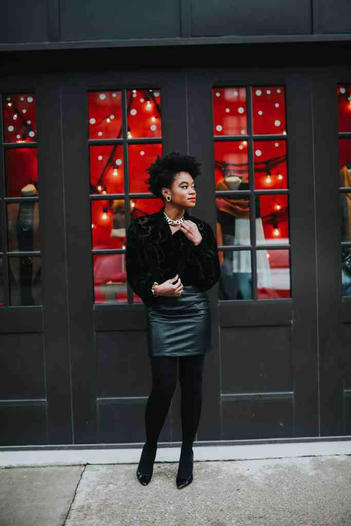 Black faux fur and leather skirt