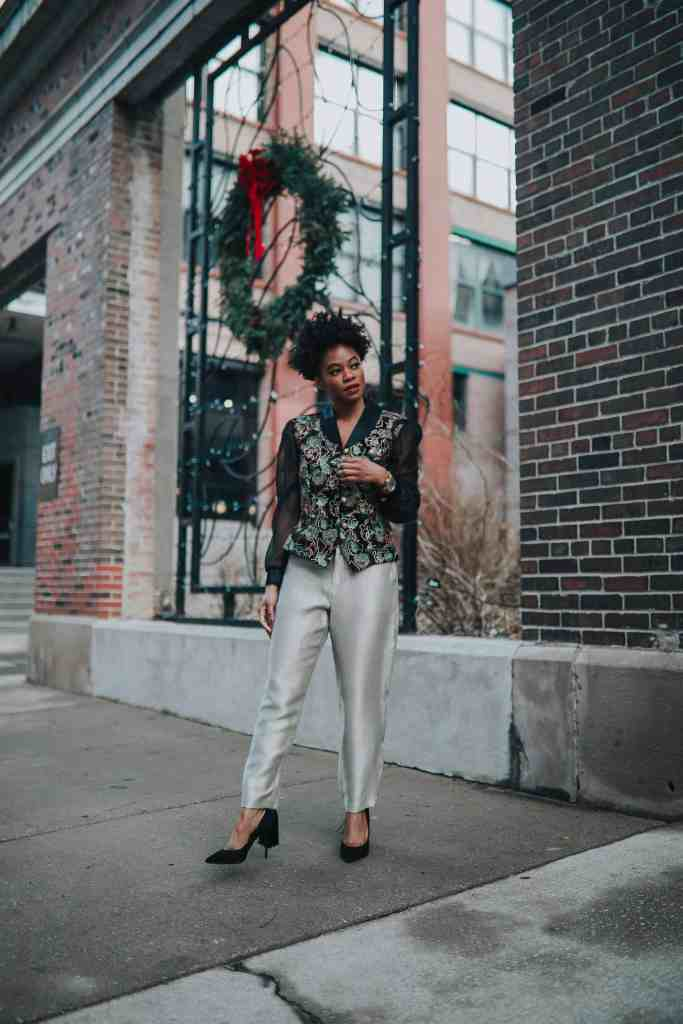 Vintage embroidered top and gold Gap pants