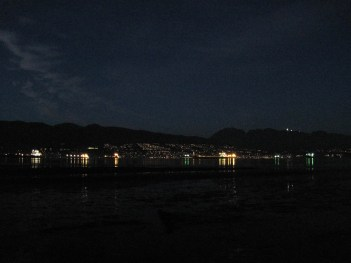 Looking north. The lights of container ships and West Vancouver.