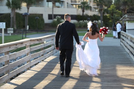 Bride and groom in Myrtle Beach after ceremony