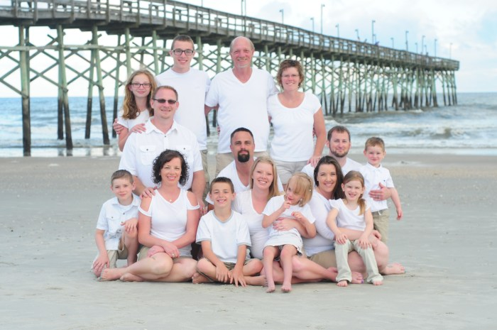 Photographing large families on the beach.