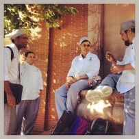 My run view 10/7/13 - Chef school students waiting for the bus on the Plaza, Kansas City, Mo.