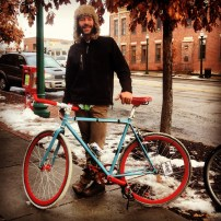My run view 1/11/14 - meet Nate. Said I could take his portrait as long as it was with his bike. Westport, Kansas City, Mo.