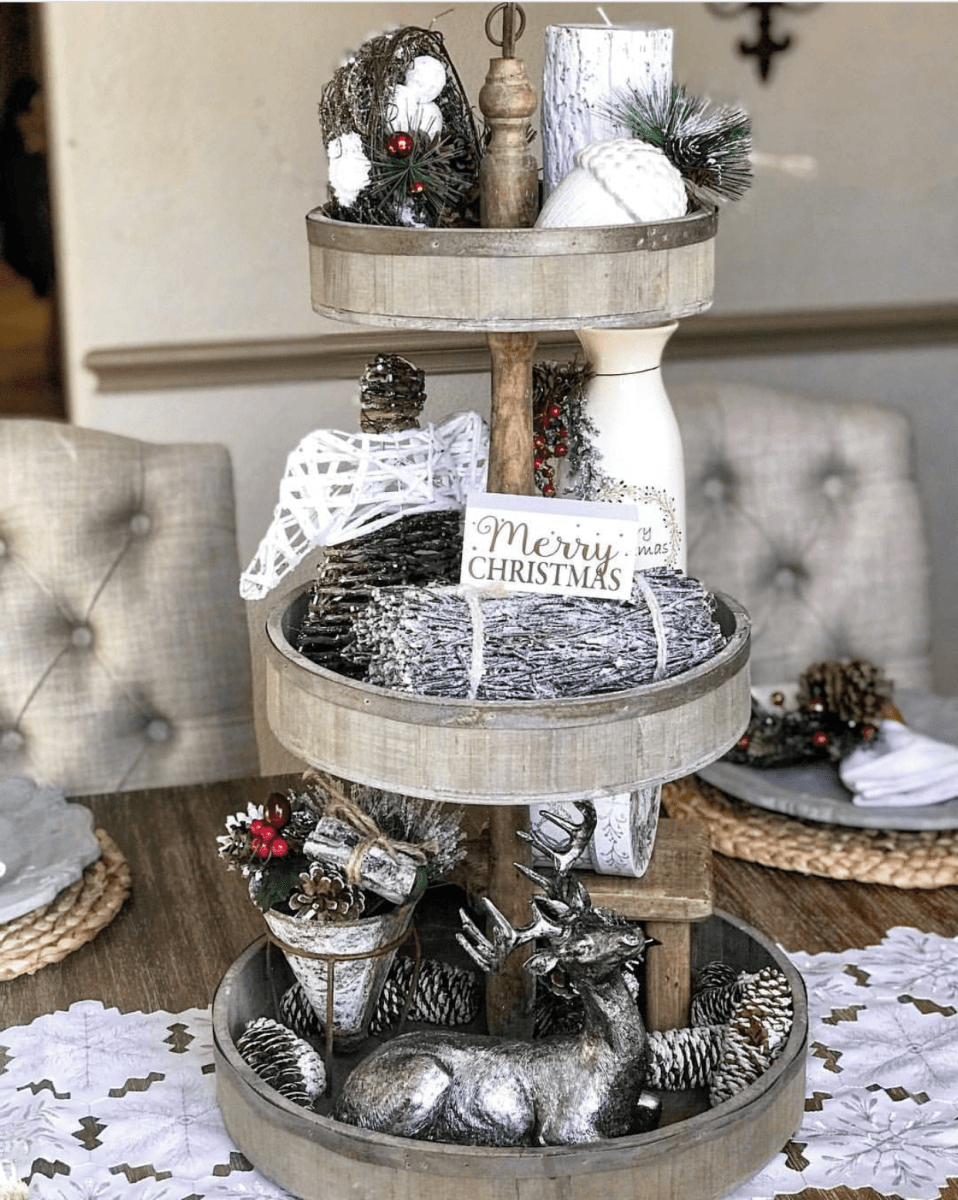 White & Silver Tiered Christmas Tray