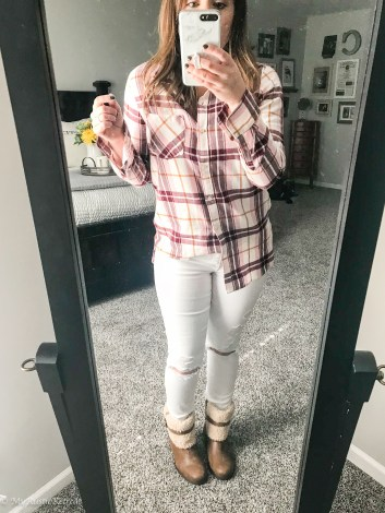 White Jeans, Plaid Flannel Top, Boots