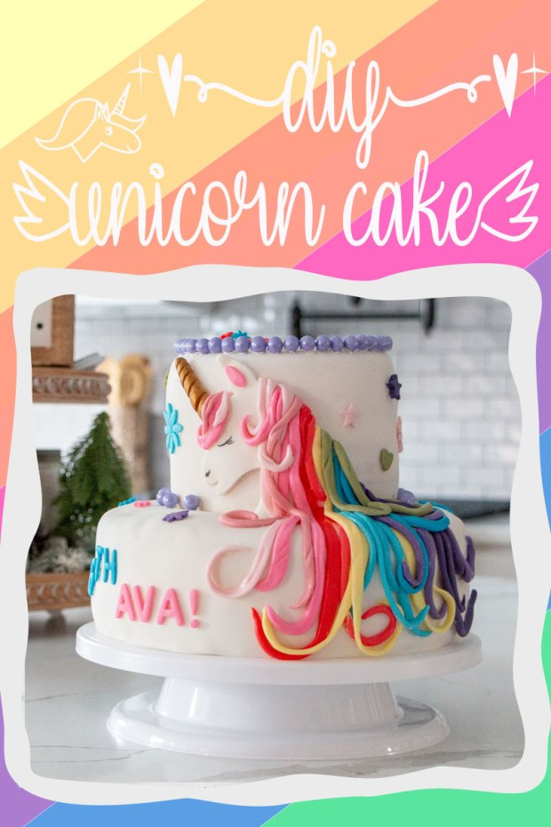 DIY Unicorn Cake for girls birthday party