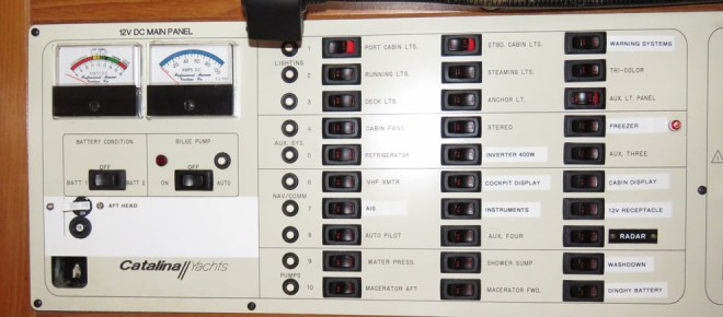 Catalina 400 Mark I DC Electrical Distribution Panel, showing push to reset circuit breakers for each row of three circuit switches