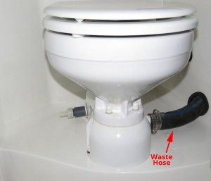 Profile view of toilet base showing close alignment with discharge hose