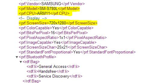 Samsung SM-S780L with 720X1280 Display, ARM11 CPU Spotted in UA Profile