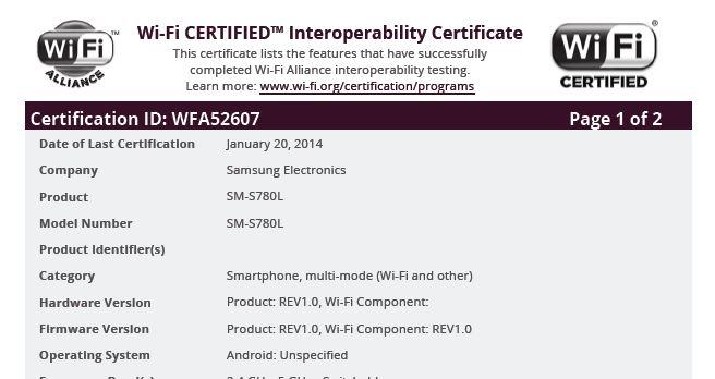 Unannounced Samsung SM-S780L receive Wi-Fi certification