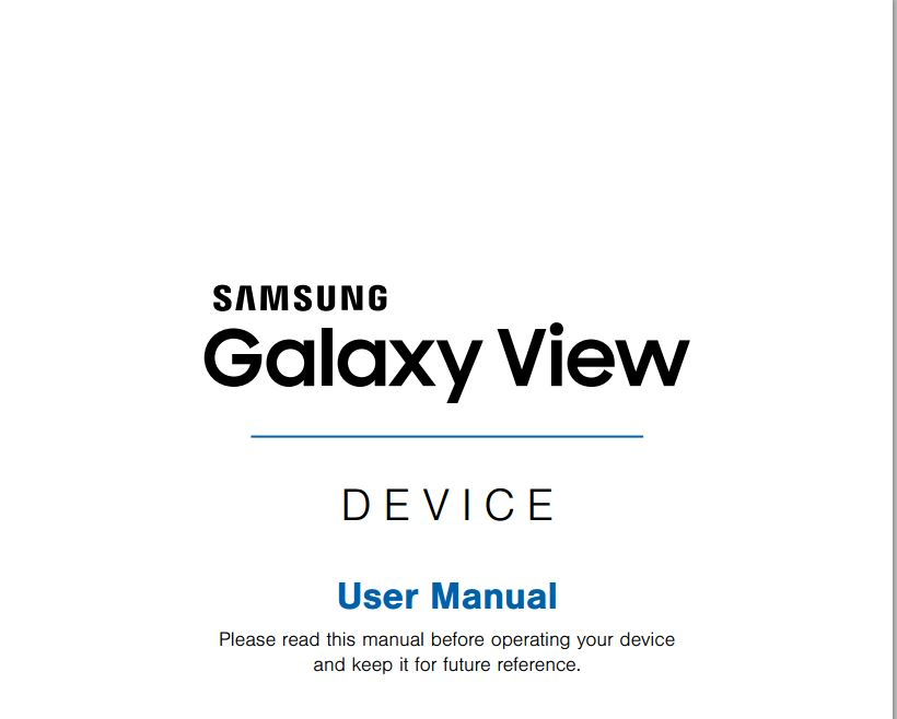 AT&T Samsung Galaxy View 18.4 (SM-T677) User Manual / Guide