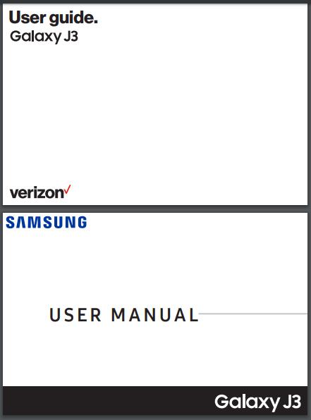 Verizon Samsung Galaxy J3 V 3rd Gen User Manual / Guide