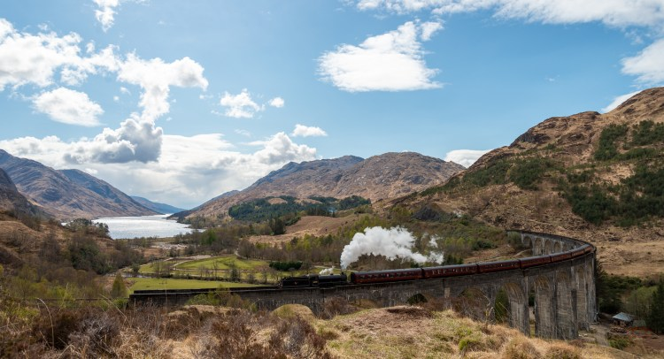 The Jacobite Steam Train gowing back to Fort William in the Scottish Highlands