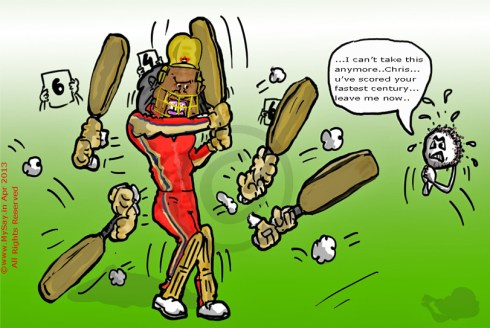 Chris Gayle cartoon,fastest 100,mysay.in