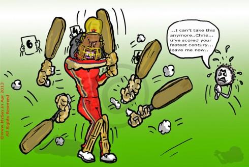 Chris Gayle cartoon,fastest 100,mysay.in