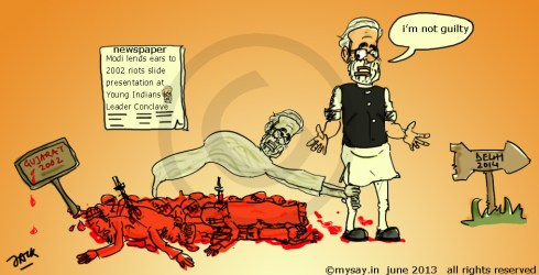 modi cartoon,gujarat riots,muslim vote bank,mysay.in bjp,political cartoons,