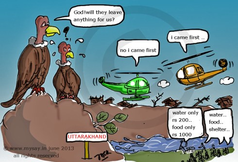 uttarakhand flood,uttarakhand tragedy,mysay.in,vulture cartoon,congress cartoon,bjp cartoon,