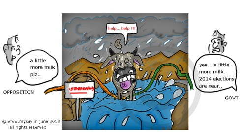 uttarakhand flood,political cartoon,mysay.in,