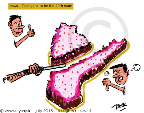telangana cartoon,telangana born,andhra pradesh split,political cartoon,mysay.in,seemandhra,