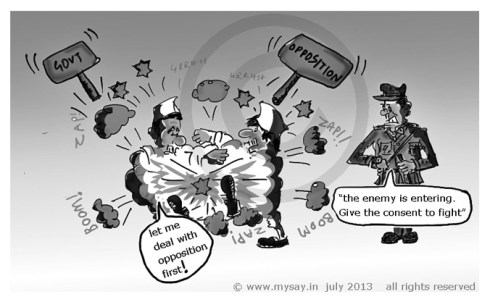 democracy cartoon,opposition cartoon,chinese entering india cartoon,army cartoon,mysay.in,political cartoons,