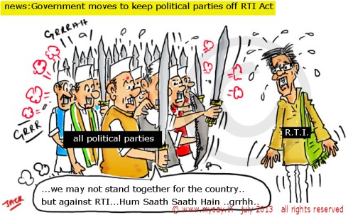 rti act, political parties exempted from rti,rti cartoon,political cartoon,mysay.in