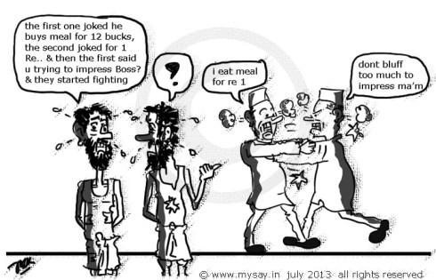farooq abdullah cartoon,raj babbar cartoon,meal for rs 12, meal for 1 rupee,poverty line,political cartoons,mysay.in