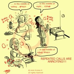 repeated phone calls,repeated calls,annoying phone calls cartoon,mysay.in,social message cartoon,