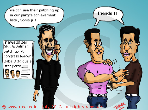 Salman Khan Shah Rukh Khan Patch Up MySay In Cartoons