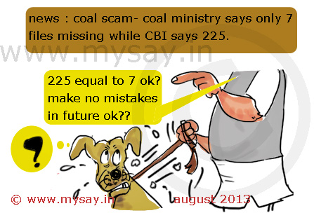 cbi cartoon,coal ministry cartoon,coal gate scam cartoon,coal scam,files missing,mysay.in,political cartoons,
