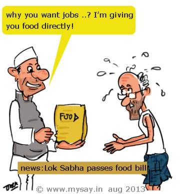 food security bill passed,food bill cartoon,lok sabha cartoon,general elections 2014 cartoon,mysay.in,political cartoon,