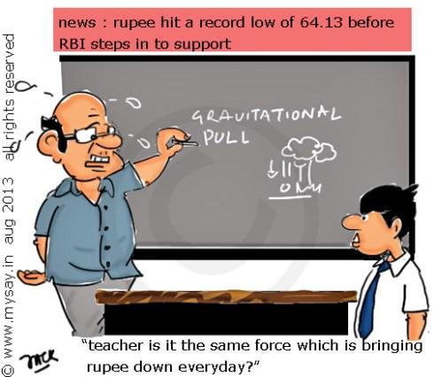 rupee reaches new low,rupee vs dollar cartoon,mysay.in,inflation,gravitational pull cartoon,