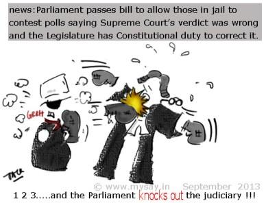 parliament,judiciary cartoon,parliament passes bill to allow jailed contestants to fight elections,political cartoons,mysay.in,parliament vs judiciary cartoon,