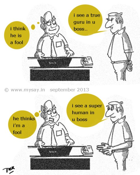 buttering up the boss cartoon,buttering cartoon,flattering cartoon,office jokes,picture image,mysay.in