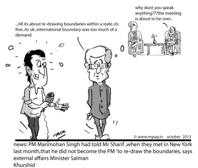 Manmohan Singh cartoon,Nawaz Sharif cartoon,Salman Khurshid cartoon,mysay.in,political cartoons,