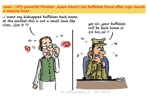 azam khan cartoon,police cartoon,buffalo stolen,political cartoon,mysay.in,
