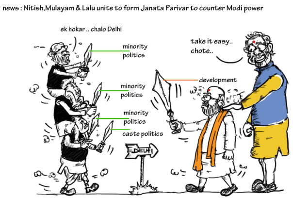 janata parivar cartoon,modi toons,nitish kumar cartoon,amit shah cartoon,mulayam singh cartoon,