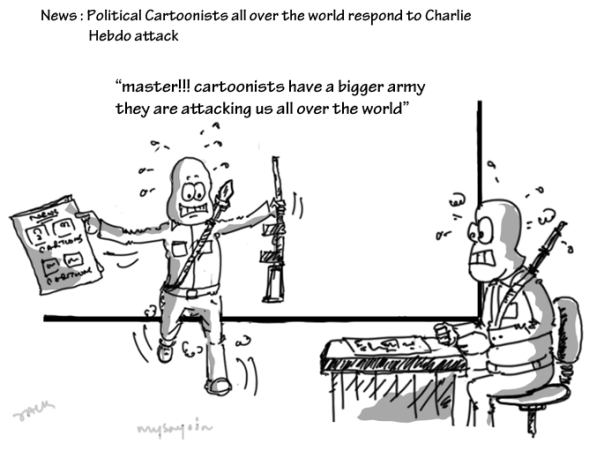 cartoon on charlie hebdo attack, mysay.in, charlie hebdo shooting,