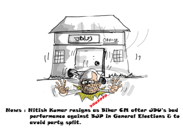 nitish kumar cartoon, 2014 general elections,