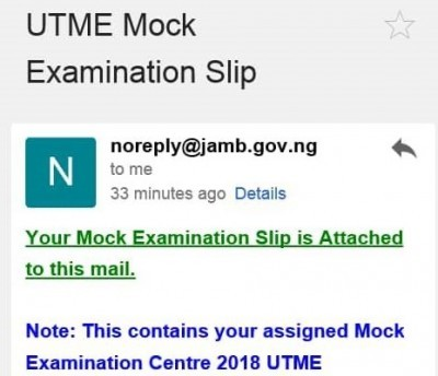 Have You Received Your JAMB 2018 Mock Exam Slip?