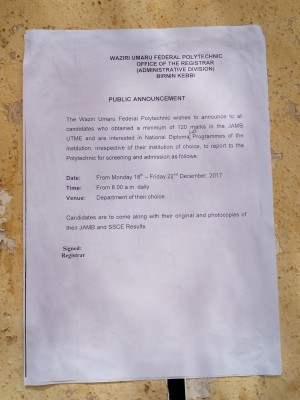 Waziri Umaru Federal Polytechnic Admission Notice To Candidates
