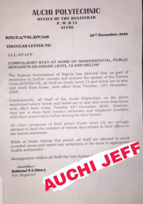 Auchi Polytechnic notice to staff on Grade Level 12 and Below