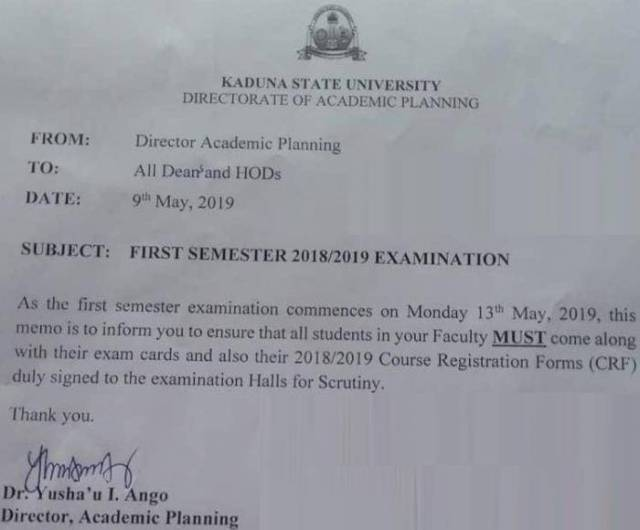 KASU 1st Semester Exam Date and Requirements for 2018/2019 Session