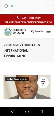 UNILAG Professor gets international appointment