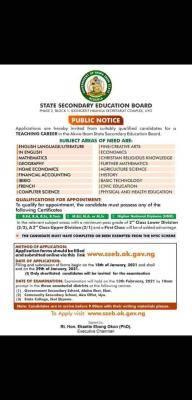 Akwa Ibom State secondary school teachers recruitment