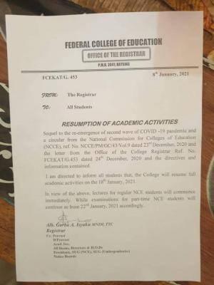 FCE Katsina resumption date