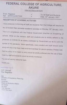 Federal College of Agriculture, Akure resumption notice