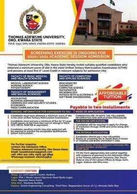 Thomas Adewumi University admission form for 2020/2021 session
