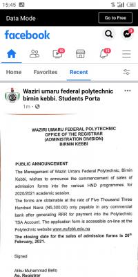 Waziri Umaru Federal Polytechnic HND admission form for 2020/2021 session
