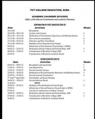 FCT COE Zuba revised academic calendar for 2019/2020 session
